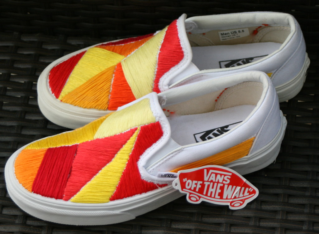63b11d850e305c Custom Vans Shoes - Sunnyside Lemon (hpolanco) Tags  shoes stitch embroidery  needlepoint stitches