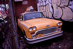 Retro Checkered New York Yellow Taxi in Greenpoint, Brooklyn