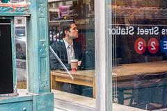 Window by the Subway (John Fraissinet) Tags: street nyc newyorkcity ny newyork man reflection window coffee shop subway sitting sony streetphotography nex7