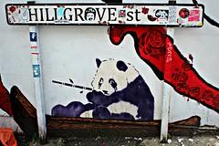 Stokes Croft (8333696) Tags: street urban white streetart black cute art animal wall bristol tin graffiti stencil mural paint panda artist chinese can bamboo spray croft spraypaint graff aerosol stokes hillgrove