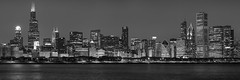 Chicago Skyline From The Adler Planetarium (Explore 12/4/12) (clarsonx) Tags: city bw panorama chicago skyline night illinois downtown cityscape lakemichigan explore adlerplanetarium chicagoist
