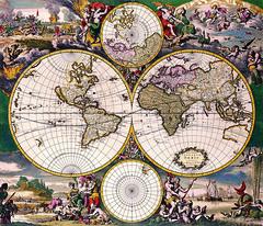 Antique Maps (divinumphoto) Tags: map antiquemapsoftheworld doublehemispherepolarmap frederickdewit c1668