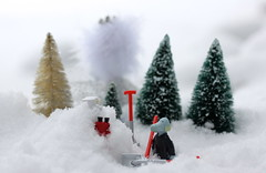 """""""If I collect enough snow there will be plenty left for next summer too!"""" (Hannhell) Tags: trees winter snow cold freezing littlemy 6thdecember hemulen snorkmaiden toysunday moominadventcalendar ladyofthecold toysundayupsidedown"""
