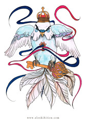 Sebastian (alexhibition) Tags: bird art painting design wings ribbons key hole drawing lock beak feathers doodle budgie crown angrybird alexhibition