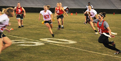 Girls' Flag Football (rdrummer) Tags: girls blur students football action flag flags females uga footballfield 50yardline piphi