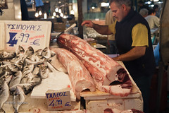 Visiting fish market in Athens (rafax1977) Tags: food orange fish cooking shop fruit canon cuisine europe market cook salmon athens fresh greece eat meal 7d olives buy octopus lobster seafood local sell prawn canon175528