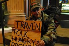 Travl'n man (Cragin Spring) Tags: vegas people man sign lasvegas nevada stranger nv strip hungry traveling broke drifter lasvegasnv lasvegasnevada
