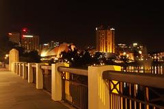 Adelaide Bridge at night looking southwest (2) (Adriano_of_Adelaide) Tags: city bridge skyline buildings adelaide cbd footpath intercontinental torrens centralbusinessdistrict intercontinentalhotel rivertorrens citybridge adelaideskyline adelaidebridge