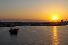 87/365: Port Canaveral Sunrise (mikepirnat) Tags: ocean travel cruise vacation sky sun water clouds port sunrise boat unitedstates florida disney clear tugboat capecanaveral barge portcanaveral elizabethann