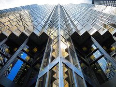 Royal Bank Tower, Toronto, Ontario (duaneschermerhorn) Tags: rbc royalbanktower skyscraper building toronto ontario canada glass glassfacade modern contemporary modernarchitecture contemporaryarchitecture architect wzmharchitects wzmh reflection colorful gold sky blue clouds financial financialdistrict