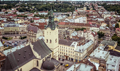 Lviv: View from City Hall Tower (Alex Demich) Tags: lviv roof roofs city cities street square overview panorama urban church temple car architecture historic ukraine tourism travel trees tower hall houses house