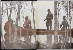 """Endpapers by N. C. Wyeth from """"The Last of the Mohicans"""" by James Fenimore Cooper. NY: Scribner's, 1919. First edition (lhboudreau) Tags: book books hardcover hardcovers hardcoverbook hardcoverbooks vintagebook vintagebooks classicbook classicbooks classicnovel classicstory art artist illustrator illustrated illustration illustrations drawing drawings illustratedbook illustratedbooks illustratedclassics bookart wyeth ncwyeth 1919 illustratedclassic vintageillustration vintageillustrations classicillustrator classicillustrations vintagebookillustrations vintagebookillustration lastofthemohicans mohicans thelastofthemohicans cooper jamesfenimorecooper fenimore uncas frenchandindianwar 1757 nattybumppo hawkeye chingachgook americanindian americanindians nativeamerican nativeamericans indians indian charlesscribnerssons scribners charlesscribners firstedition endpaper endpapers canoe"""
