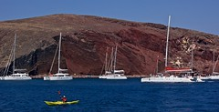 Rafting at Red Beach, Santorini (somabiswas) Tags: aegean sea seascapes boats rafts red beach landscape greece santorini akrotiri rafting
