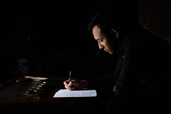Javier Garza Jr (dhowell90) Tags: music musician writing dramatic flash speedlight canon eos 60d