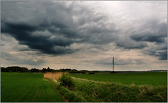 An ordinary landscape before storm (piontrhouseselski) Tags: clouds moravia cz sky green grain
