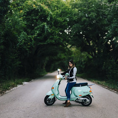 0910 Emily on her scooter in a tree tunnel (37 pano) (movies05) Tags: denton emilyholt project365 vespa celeste cute girls mint parked road scooter scoutdenton smile street trees tunnel wddi