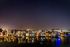 Great Bear over Fisherman's Wharf (V.Duplain) Tags: bc british columbia victoria fisherman fishermans wharf beautiful canada explore night star stars reflection water floating house home light lights great bear constellation