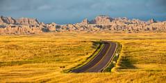 South Dakota '16 (R24KBerg Photos) Tags: landscape nature outdoors unitedstates sd southdakota sunrise morning 2016 photomerge lightroom panorama panoramic rocks canon nationalpark thebadlands badlandsnationalpark road highway