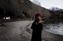 (Bronte Lockwood) Tags: jo by water wanaka pure new zealand river being hippie beautiful girl dusk after sunset with headlights light travel mountains snow rings beach free