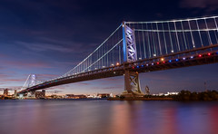 Ban Franklin Bridge (Amitabhs Photography) Tags: amitabhphotography colors reflection bridge philly camden suspension sky clouds blue hour span fineart prints delaware river magazine cover