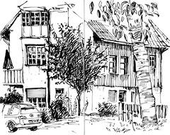 Zingst_holiday home (connykunze) Tags: ink lines tree house car sketchbook holidayhome zingst dars mecklenburgvorpommern balticsea urbansketching travelsketchingoutdoor vacation summer