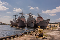 Old Soldiers (jack .b.) Tags: usa naval ships cruisers philadelphia philly delawareriver nikond810 nikon3514g water ropes moorings ww2 outofservice dock sky navalyard 2016 summer