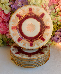 Hutschenreuther Porcelain Plates ~ Red ~ Gold Encrusted ~ Medallion (Donna's Collectables) Tags: hutschenreuther porcelain plates ~ red gold encrusted medallion