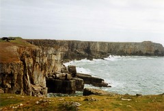 St Govan's Head, from above St Govan's Chapel, Sep. 1991 (Great Uncle David) Tags: wales pembrokeshire stgovanshead
