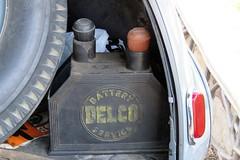 Vintage Delco Battery (Patricia Henschen) Tags: vintage car auto automobile chevrolet 1940s carshow lajunta colorado delco battery specialdeluxe 1940 chevy usroute50