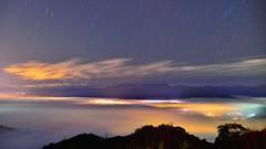~~ Starils above Colored glass light (Shang-fu Dai) Tags:  taiwan  clouds nikon d800e  starails sky   coloredglasslight liulilazurite landscape formosa nightscene nantou