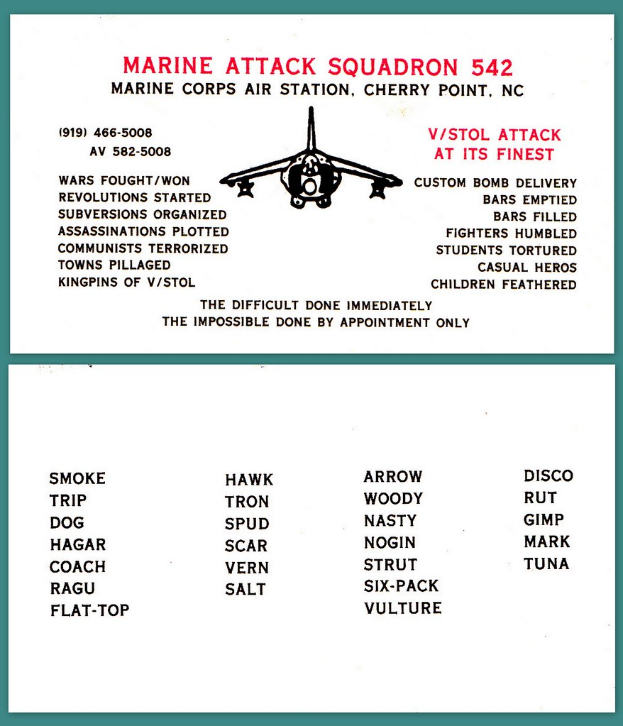The worlds best photos of disco and squadron flickr hive mind business card marine attack squadron 542 cherry point nc picturejohn64 tags michael beguelin magicingreecefo Choice Image