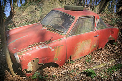 Little Red Riding Wreck (Martyn.Smith.) Tags: car wreck red forest vintage classic cars decay corrosion carwreck decaying corroded ironoxide canon eops 700d flickr image photo