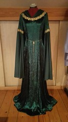 Finished Gown + Cape (Yava.) Tags: emerald green velours fabric costume wip lord rings hobbit tolkien elves gown film movie gold ribbon
