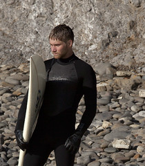 5867.Mental prep tight crop (eyepiphany) Tags: dog beach surf fear wetsuit anxiety determination intent logpile smugglerscove resolve oregonbeaches shortsandsbeach determinedsurfer xcelwetsuit tappingthesource surfwarrior buildingupthenerve