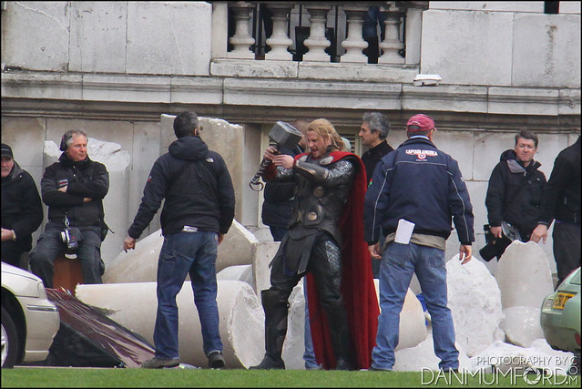 Chris Hemsworth, Bobby Holland Hanton and Christopher Eccleston filming Thor:The Dark World
