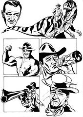 John Wayne is John Wayne in John Wayne (original drawing) (harveygodson) Tags: blackandwhite ink comics comic dinosaur drawing johnwayne comicpage originaldrawing