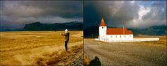 Stephen's World (Dead Slow) Tags: sunlight mountains iceland snfellsnes stormyskies deadslow kodakportra400 ruralchurch christopherhall voigtlnderbessaiii667