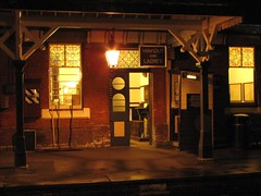 The entrance on Platform 1 (rcarpe2) Tags: park night golden sheffield pullman arrow bluebell