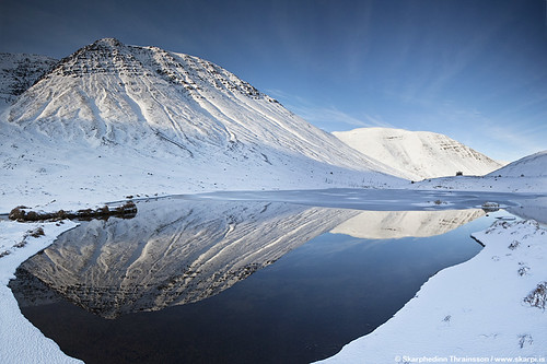 Reflecting mountains in Skagafjörður, north Iceland