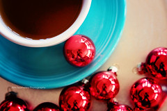 Reflecting (KimFearheiley) Tags: christmas red reflection coffee reflecting teal circles ornaments round