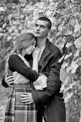 (Ole Lukoie) Tags: autumn portrait bw fall love nature girl beauty smile face leaves couple bokeh naturallight lovers autumncolors melancholy redhair lovestory inlove  50mmf14  melancholia         beautifullgirl   beautifulllight
