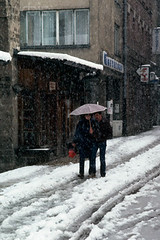 (ninababic) Tags: people snow weather umbrella europe sarajevo couples pedestrian humanrelationships snowfall naturalworld easterneurope yugoslavia balkanstates bosniaandherzegovina