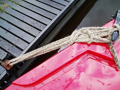 Not a Knot (Sandy Snapper) Tags: red reflection water canal rope knot mooring narrowboat