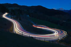 Let there be Light! (daitoZen) Tags: road longexposure light mountain car night turn germany landscape bavaria evening berchtesgaden scenery stream europe glow traffic bend dusk trails bluehour curve sweep hairpin lighttrail blaue ramsau bgl blauestunde stunde onsalegi