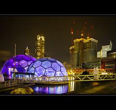 Blue Balls (LiesBaas) Tags: nightphotography buildings lights rotterdam lichtjes nachtfotografie gebouwen funkie liesbaas blueballsbyliesbaas blauweballenbyliesbaas rotterdambynightbyliesbaas rotterdamseballen