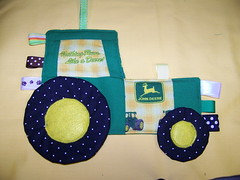 Tractor Taggie Toy using John Deere fabric pdf pattern (lets sew) Tags: diy johndeere babytoy pdfpattern taggietoy