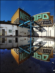 Nes1 OPD and others... (Alex Ellison) Tags: urban reflection rooftop puddle graffiti jets lg reflected peter pbs atg eastlondon grose haggerston opd nehs flem soeta jetsa nes1 lgang