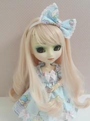 Kimiko(Pullip Prunella) (Lili-Cupcake) Tags: brown white me rose by eyes acrylic dress s pale made planning wig pullip kimiko jun prunella marrons sbh obitsu rewigged rechipped eyeco