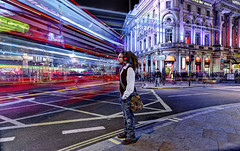 Traffic at Piccadilly Circus (Anatoleya) Tags: street city light 3 guy london dreadlocks night canon prime evening long exposure traffic circus mark f14 iii trails piccadilly le l 5d 24mm hdr dredlocks f14l 5d3 anatoleya
