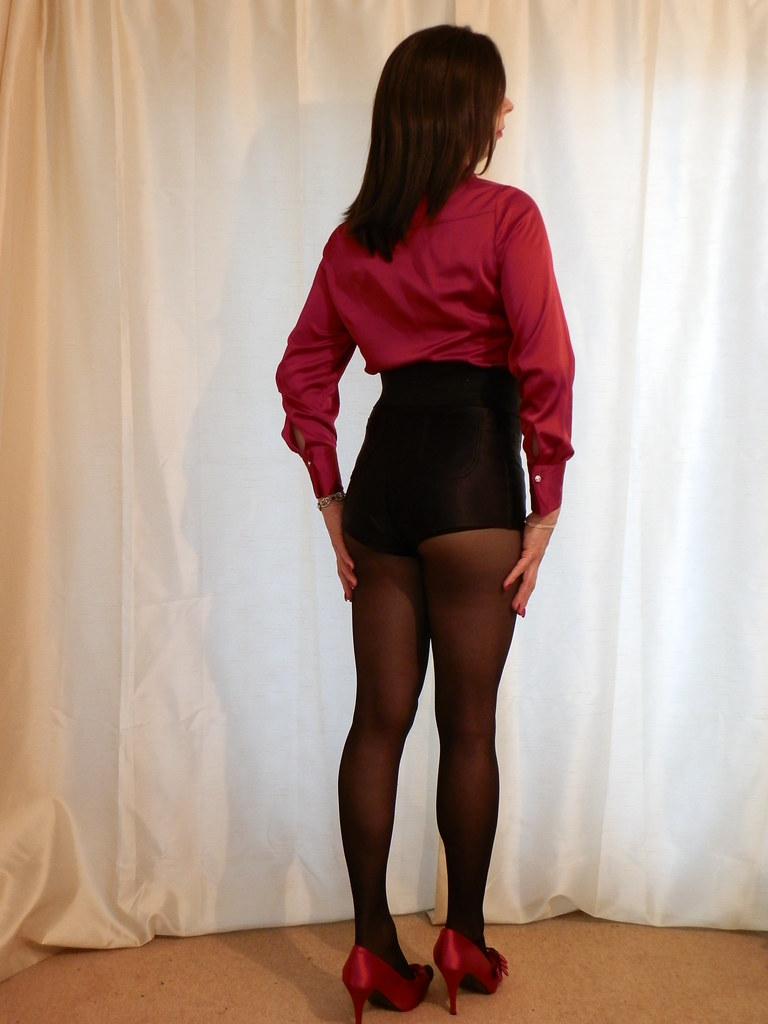And beautiful satin shorts and pantyhose